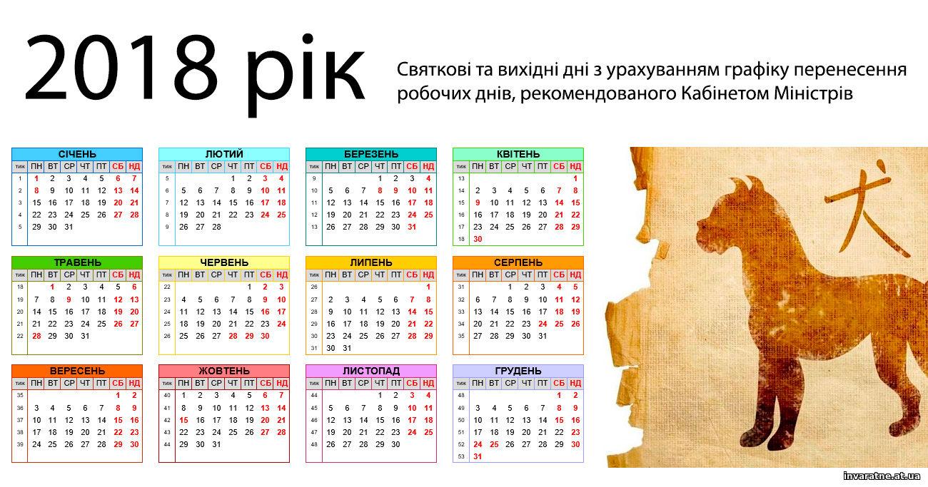 Календар вихідних днів на 2015 рік